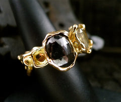 Lucifer Vir Honestus Fancy Brown and Black Diamond Ring in 18K Rose Gold