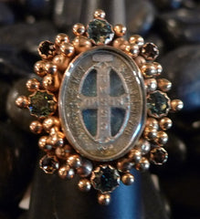 Virgins, Saints & Angels Oval San Benito Ring with Swarovski Crystals
