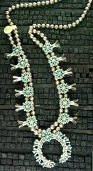 Zuni Sterling and Turquoise Squash Blossom Necklace