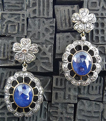Antique Blackened Silver and Gold Diamond and Sapphire Drop Earrings
