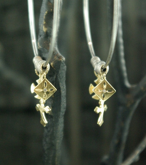 Mizuki 14K Yellow Gold and Sterling Hoops with Baby Charms
