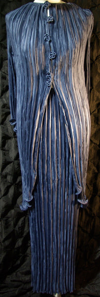 Vintage Mary McFadden Blue Crinkled Silk Evening Skirt and Matching Long Top