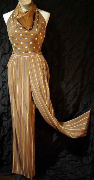 Vintage Bill Blass 4 Piece Silk Cocktail Suit with Palazzo Pants, Blouse, and Sash