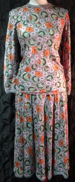 Vintage Missoni Wool Floral Skirt and Top Set