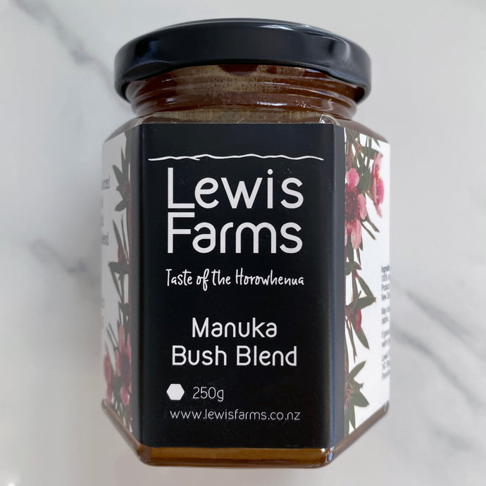 Lewis Farms Manuka Bush Blend honey is sourced from native flora in the central plateau of the North Island. The blend has a stunningly rich and creamy floral flavour.