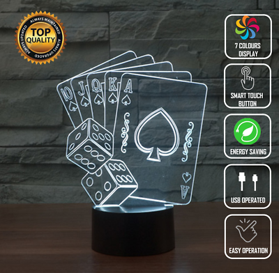CARDS DECK POKER 3D NIGHT LIGHT - Eyes Of The World