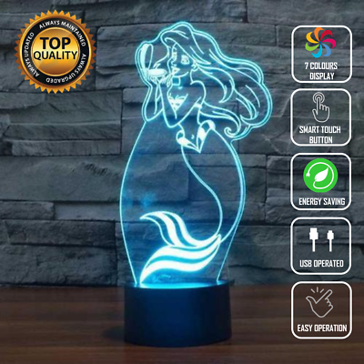 ARIEL LITTLE MERMAID 3D NIGHT LIGHT - Eyes Of The World