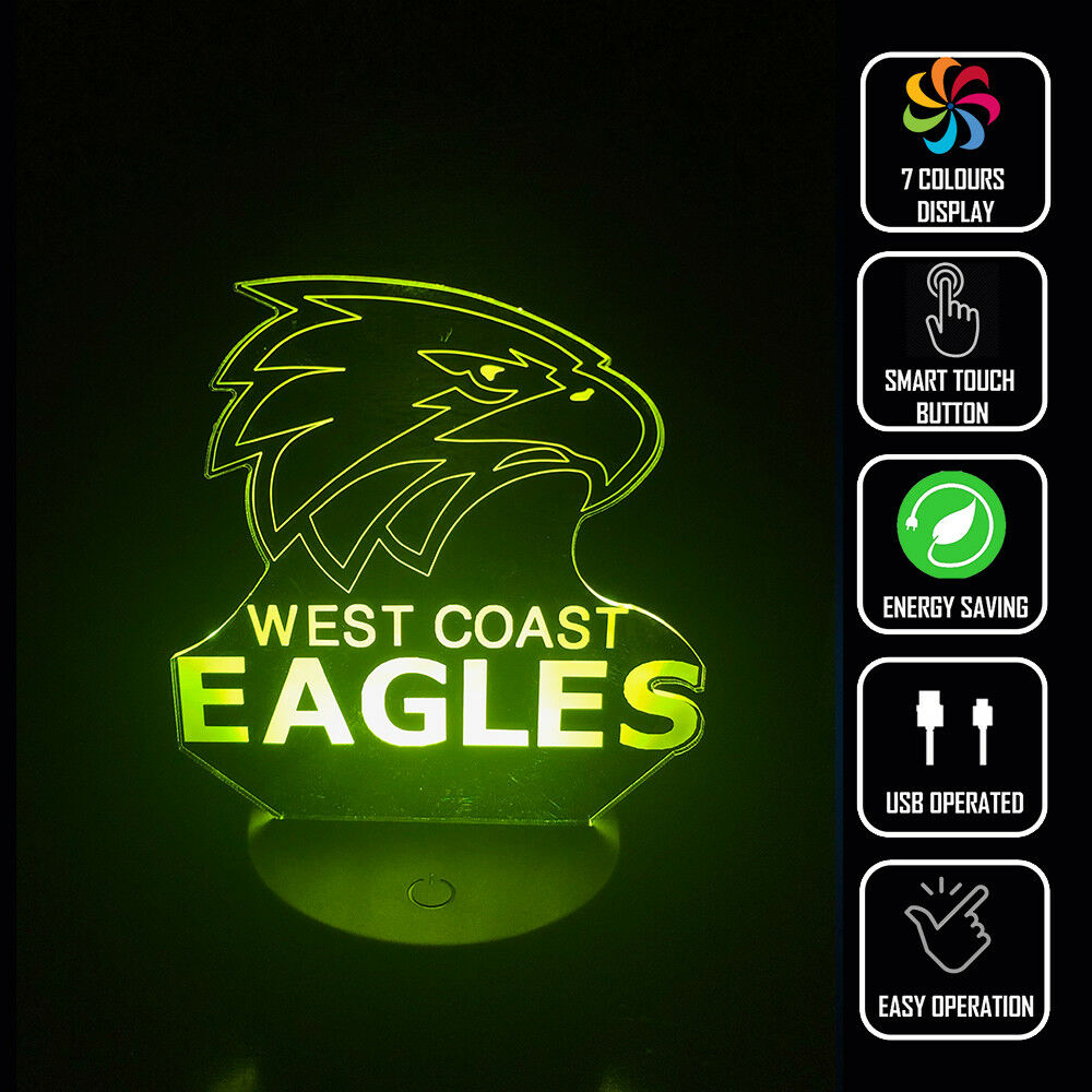 WEST COAST EAGLES FOOTBALL AFL 3D NIGHT LIGHT - Eyes Of The World