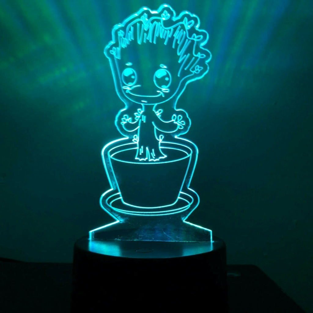 Baby Groot Pot Guardian Gift 3D Acrylic LED 7 Colour Night Light Touch Lamp - Eyes Of The World