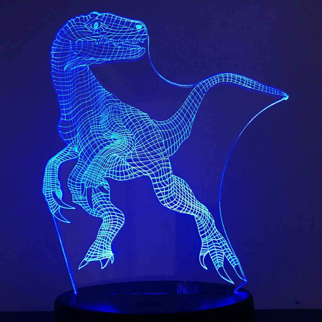 Velcociraptor Dinosaur Blue Jurrasic 3D NIGHT LIGHT - Eyes Of The World