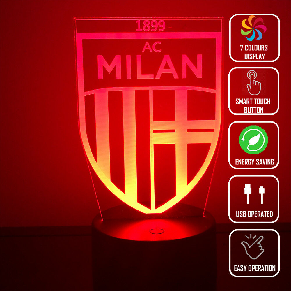 AC MILAN SOCCER FOOTBALL 3D NIGHT LIGHT - Eyes Of The World