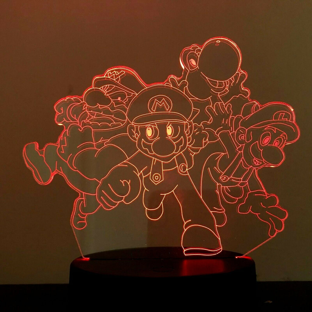 SUPER MARIO NINTENDO 3D Acrylic LED 7 Colour Night Light Touch Table Lamp Gift - Eyes Of The World