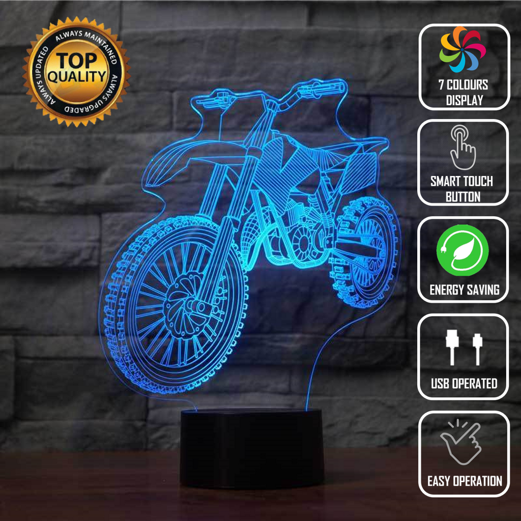 Motocross Dirt Bike Racing Fox 3D Acrylic LED 7 Colour Night Light Touch Lamp - Eyes Of The World