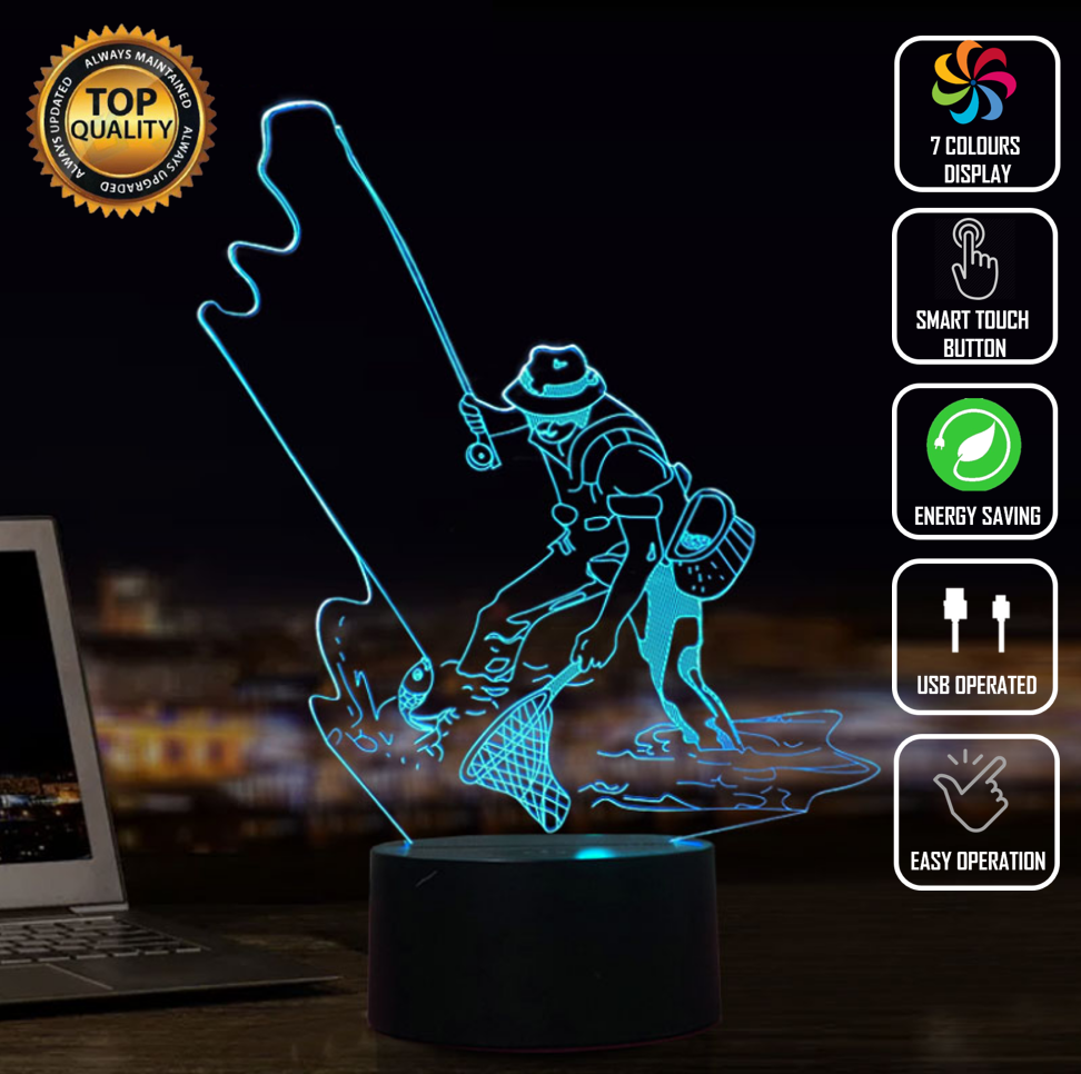 FLY FISHING MAN CAVE TROPHY 3D NIGHT LIGHT - Eyes Of The World