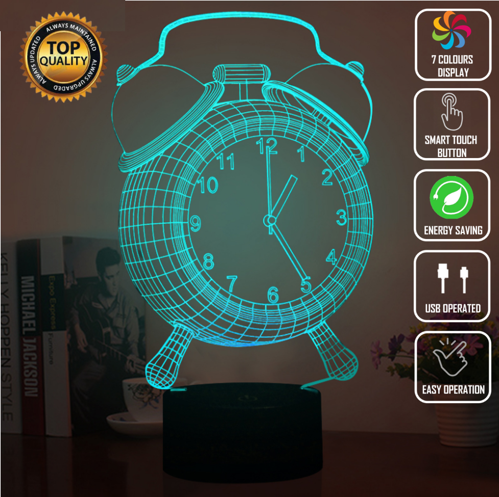 ALARM CLOCK SIDEBED 3D NIGHT LIGHT - Eyes Of The World