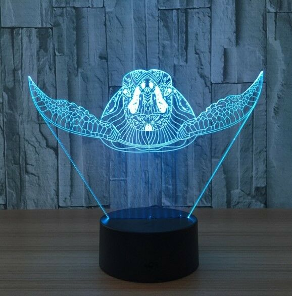 TURTLE OCEAN 3D Acrylic LED 7 Colour Night Light Touch Table Desk Lamp Gift - Eyes Of The World