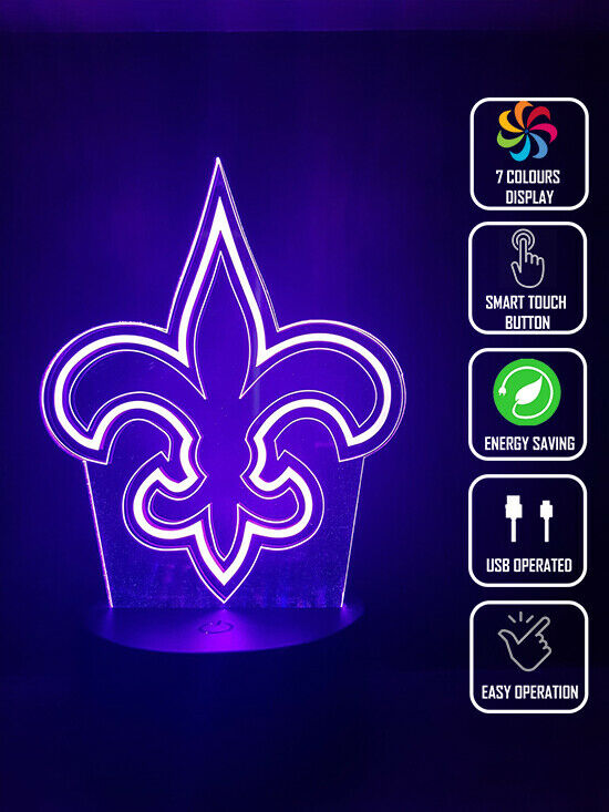 NEW ORLEANS SAINTS FOOTBALL 3D NIGHT LIGHT - Eyes Of The World