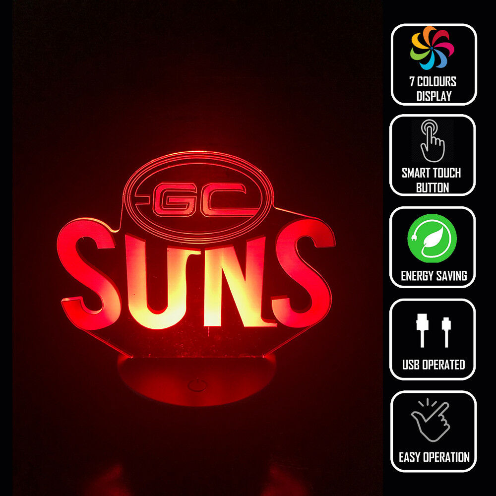 GOLD COAST SUNS FOOTBALL AFL 3D NIGHT LIGHT - Eyes Of The World