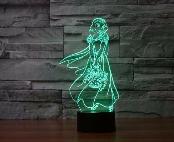 SNOW WHITE PRINCESS 3D Acrylic LED 7 Colour Night Light Touch Table Desk Lamp - Eyes Of The World