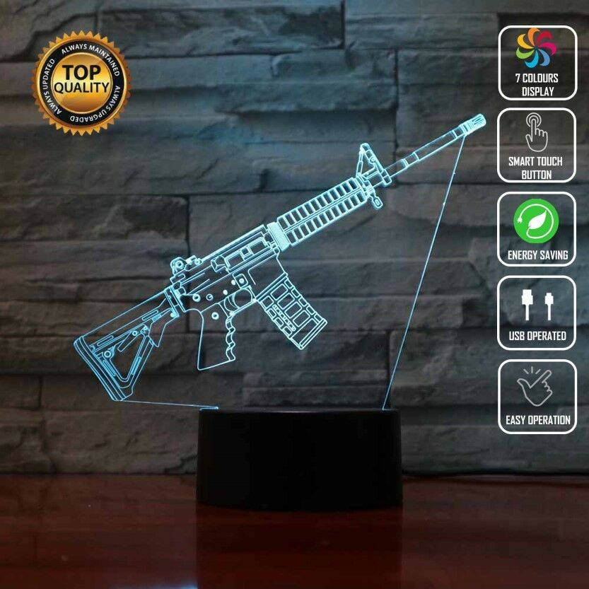 M4A1 COLT MACHINE FIRE GUN 3D NIGHT LIGHT - Eyes Of The World