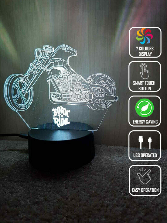 BORN TO RIDE MOTORCYCLE 3D NIGHT LIGHT - Eyes Of The World
