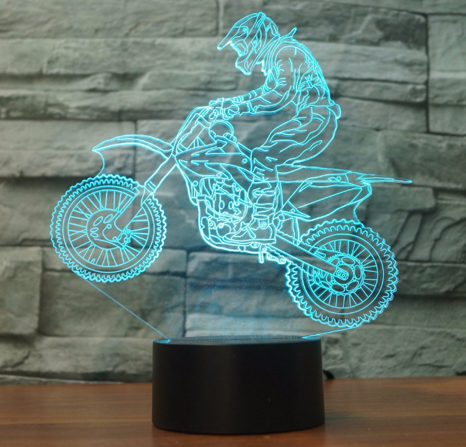 DIRT BIKE STROKE 50cc 3D Acrylic LED 7 Colour Night Light Touch Table Desk Lamp - Eyes Of The World