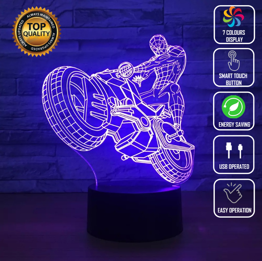 SPIDERMAN MOTORCYCLE 3D NIGHT LIGHT - Eyes Of The World