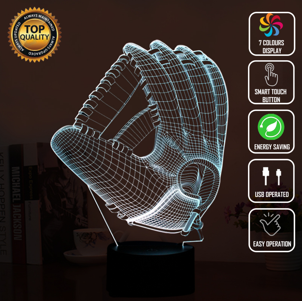 BASEBALL GLOVE CRICKET 3D NIGHT LIGHT - Eyes Of The World