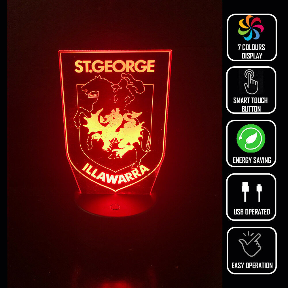 ST GEORGE DRAGONS FOOTBALL 3D NIGHT LIGHT - Eyes Of The World