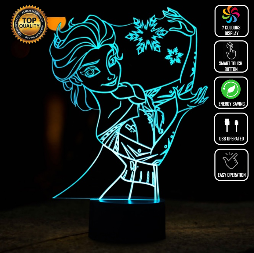 ELSA FROZEN PRINCESS DISNEY 3D NIGHT LIGHT - Eyes Of The World
