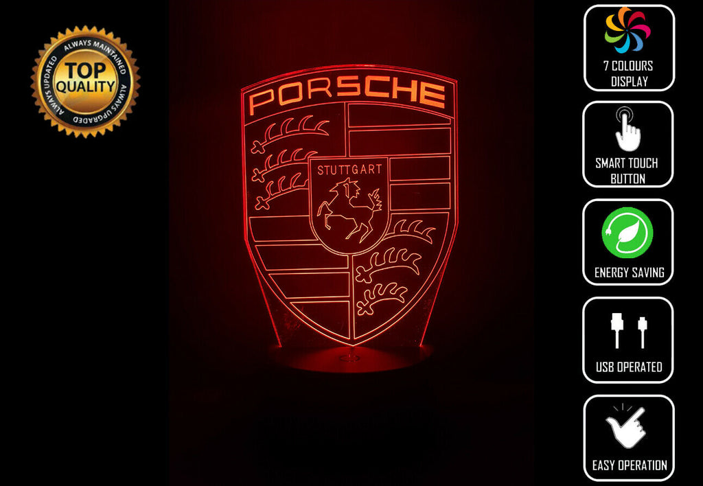 PORSCHE LOGO 3D NIGHT LIGHT - Eyes Of The World