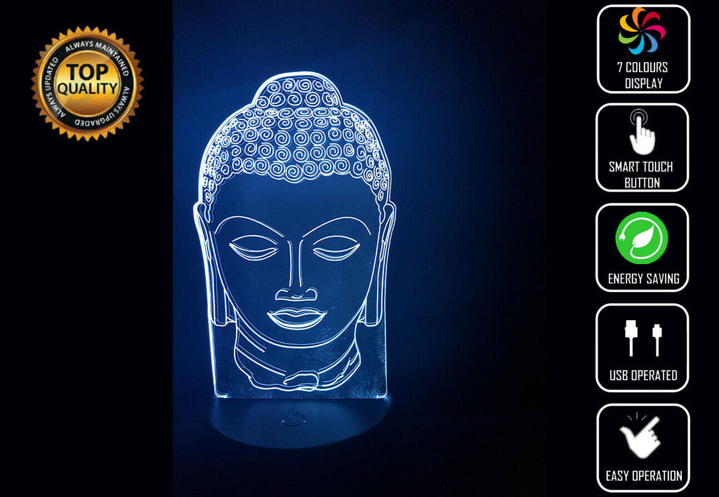 BUDDAH HEAD 3D NIGHT LIGHT - Eyes Of The World