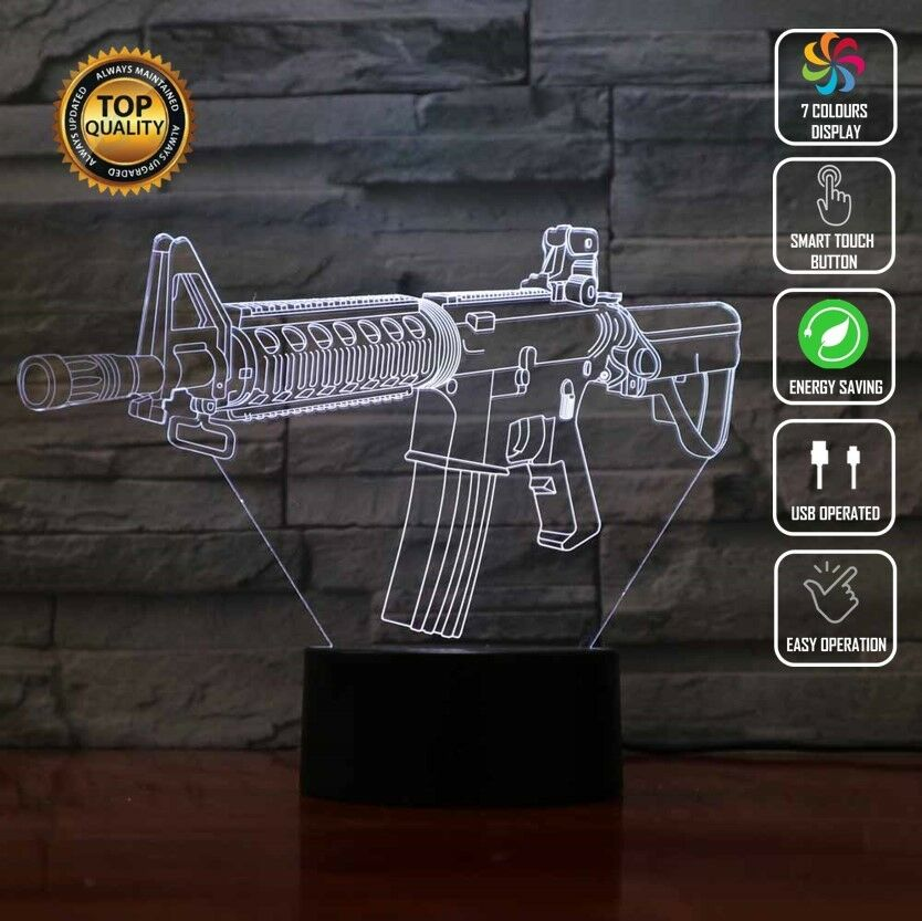 M4A1 COLT GUN MACHINE BULLET 3D Acrylic LED 7 Colour Night Light Touch Lamp Gift - Eyes Of The World