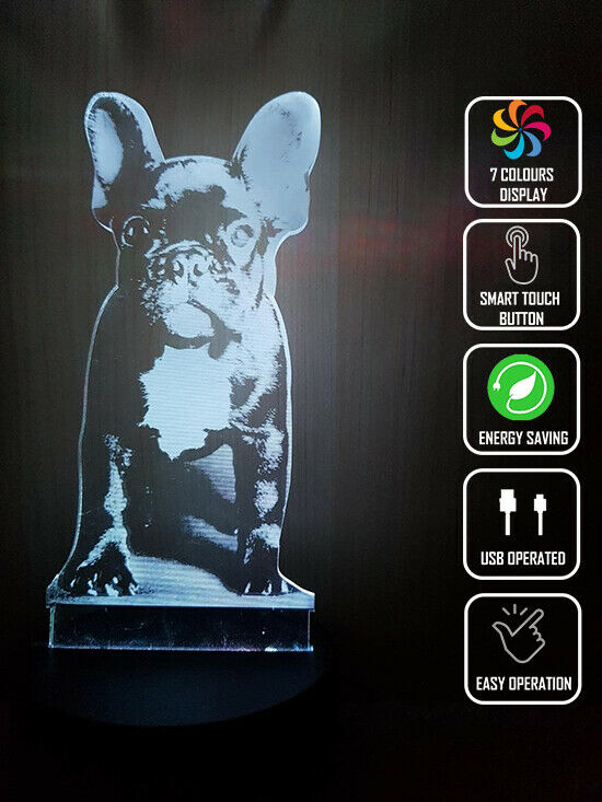 FRENCH BULLDOG PUPPY PET DOG 3D NIGHT LIGHT - Eyes Of The World