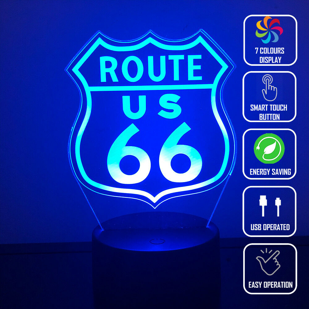 ROUTE 66 3D NIGHT LIGHT - Eyes Of The World