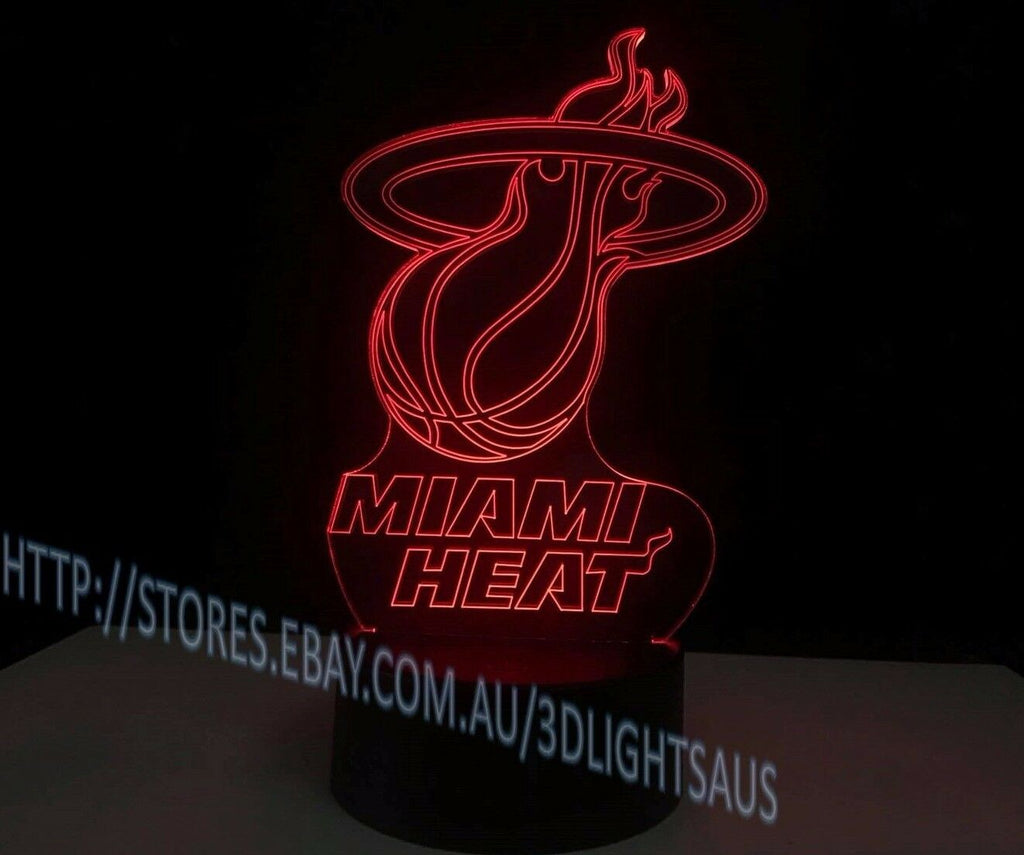 MIAMI HEAT 3D Acrylic LED 7 Colour Night Light Touch Table Desk Lamp Gift - Eyes Of The World