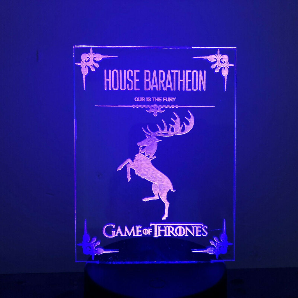 HOUSE BARATHEON GAME OF THRONES 3D Acrylic LED 7 Colour Night Light Table Lamp - Eyes Of The World