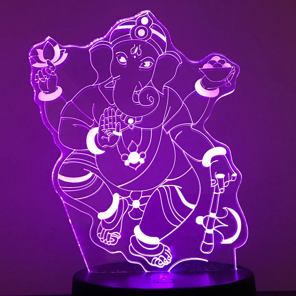 GANESHA MANTRA YOGA 3D Acrylic LED 7 Colour Night Light Touch Table Lamp Gift - Eyes Of The World