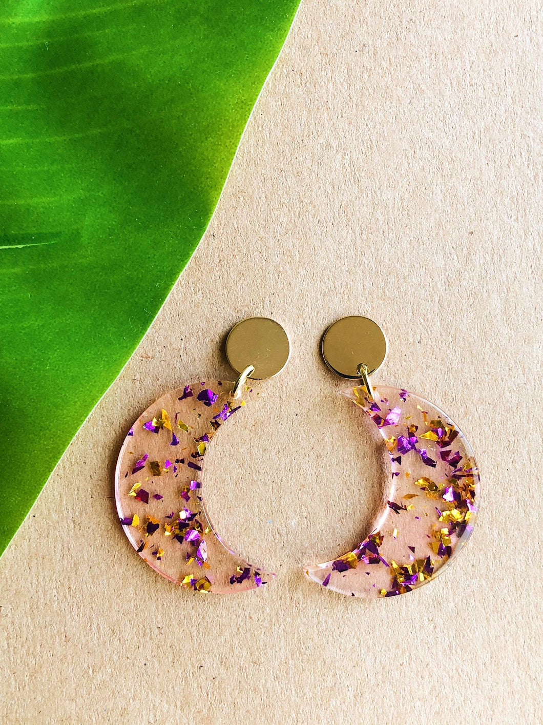 Purple and Gold Flaked Moon Earrings