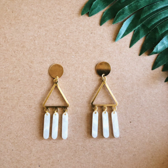 Triangle Wind- Chime Earrings - White