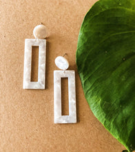 Load image into Gallery viewer, White Rectangle Earrings