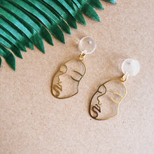 Load image into Gallery viewer, Brass Face Outline Earrings