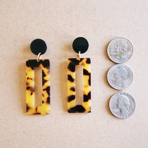 Tortoise Rectangle Earrings