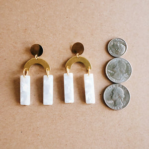 Gold and White Arch Earrings