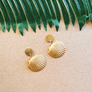 Brass Seashell Earrings