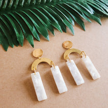 Load image into Gallery viewer, Gold and White Arch Earrings