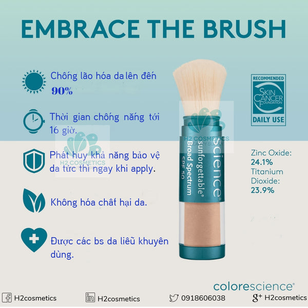 Bột chống nắng Colorescience Sunforgettable Total Protection Brush-On Shield SPF 50