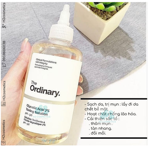 Toner trị mụn/thâm, sáng da, se lcl The ordinary Glycolic Acid Toning Solution 7%