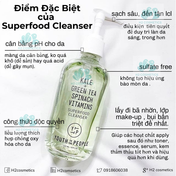 Sửa rửa mặt Youth To The People Superfood Antioxidant Cleanser