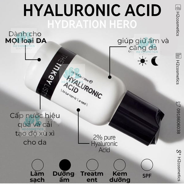 Serum cấp nước The INKEY List Hyaluronic Acid Hydrating Serum